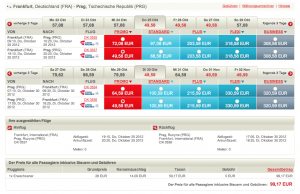 Beispielbuchung Frankfurt - Prag mit Czech Airlines